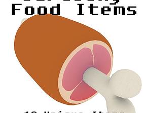 Cartoony Food Items 3D asset