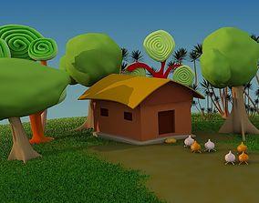 3D model Cartoon House Scene