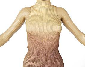 3D model Top Wool gold Purple Women Fashion Clothing