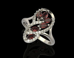 3D printable model Ring with marquise and diamonds
