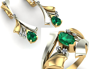 WOMAN SET RING AND EARRINGS gold 3D model