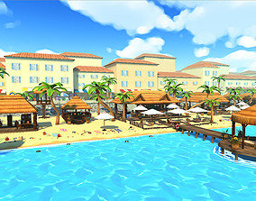 3D model summer beach - cartoon