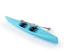 3D model Blue Canoe With Paddles