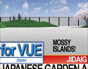 3D model Japanese Garden A Set Mossy Islands