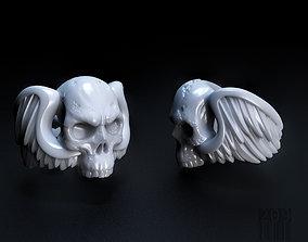 Skull wings ring 3D print model
