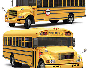 3D School Bus Blue Bird