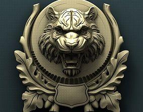 Tiger head medallion 3d stl model for cnc
