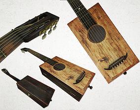 Antique Box Guitar 3D asset