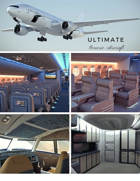Now on sale - The Ultimate Generic Aircraft - 3 Full Interior Cabins -Cockpit 3D model