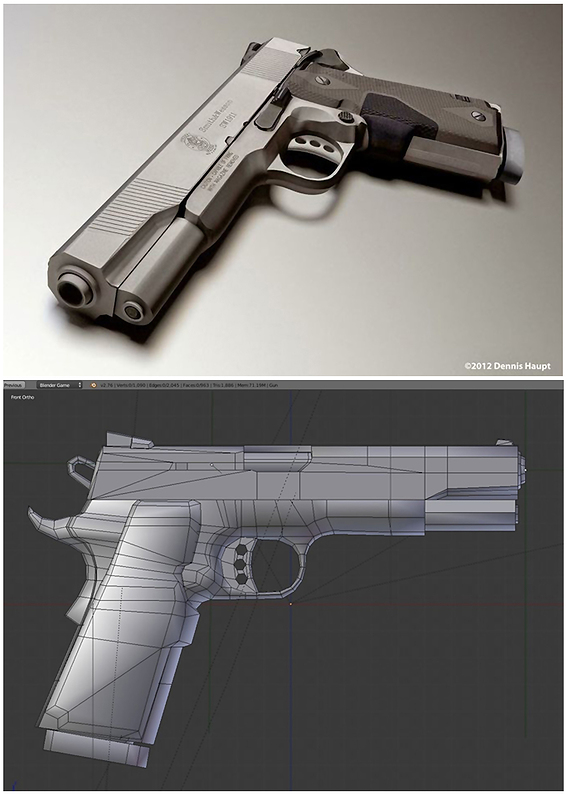 Low-Poly Hand Gun 45 ACP Smith and Wesson