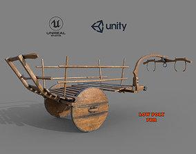 Wooden Medieval Ox Cart ox 3D asset