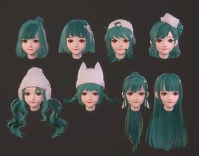 3D asset cartoon hair style girl