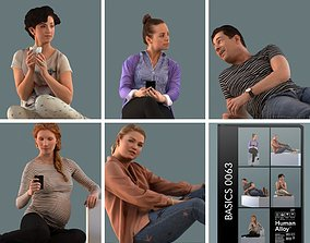 woman Set of 3D people sitting in sofa poses