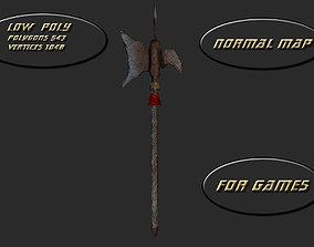 3D asset Medieval halberd