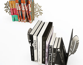 Books end Feather and Tree 3D