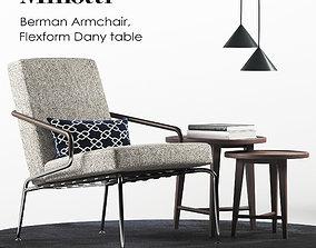 3D model Minotti Berman armchair set
