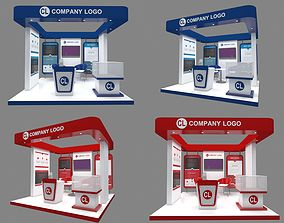 3D Booth design exhibit RED and Blue 3x3 include poster