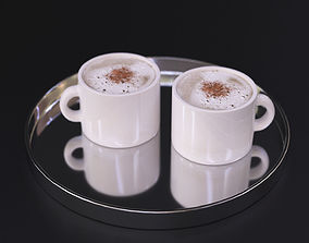 3D model Cappuccino coffee on a chrome tray white