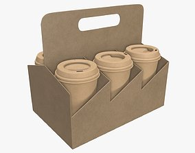 3D Biodegradable large paper coffee cup with lid and