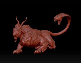3D printable model monster with lion head goat body