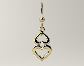 gold 3D print model Earrings with a pair of hearts