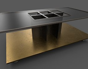 Metal-glass table 3D model
