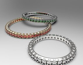 3D printable model Thin eternity stackable band ring set