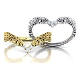 Chevron ring Nature band design 3D print model