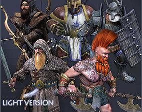 3D asset animated Dwarves Warriors Light Version