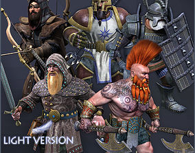 3D asset Dwarves Warriors Light Version