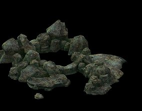 vegetation 3D Game model - the size of stone dry grove