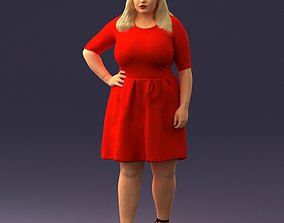 Woman in red 1016 3D Print Ready