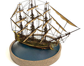 Pirate Ship 3D asset animated low-poly