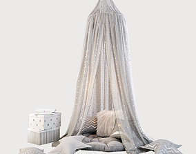 Children four poster bed and decor in shades of grey 3D