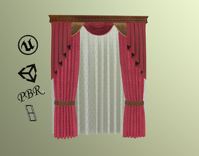 3D asset Animated hold up PBR curtain for game 3