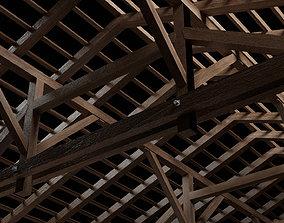 Wooden Roof Queen Post Truss 3D asset