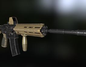 3D model HK416 heckler and koch Assault riffle gun