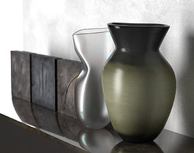 Square Sculptures with Vases 3D model