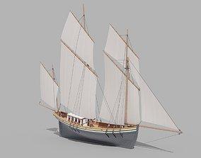 Sail Yacht 3D model realtime