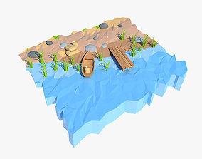 Cartoon shore 3D asset
