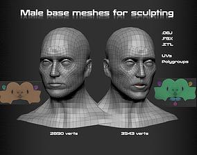 3D asset Male Head Base mesh