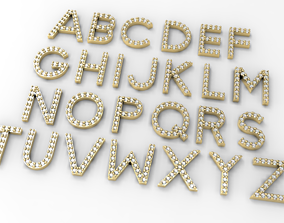3D print model Alphabet paved letters for gemstone wax 2