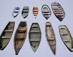 3D model Wooden Boat Pack