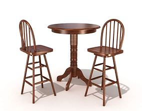 3D Traditional American Table And Chairs
