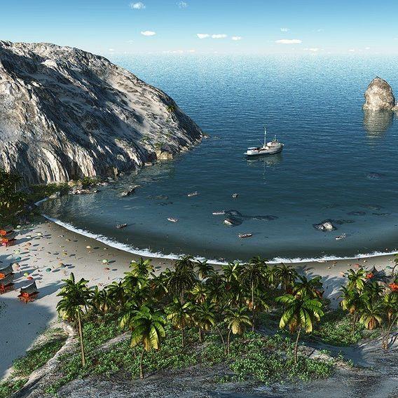 Sandy bay in Vue