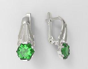 Hexagon gem earrings 3D printable model