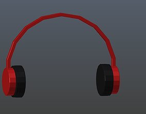 Low poly headphones 3D asset