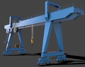 PBR Double Girder Gantry Crane V2 - Blue Light 3D model