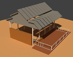 Low Poly Cowshed 3D asset