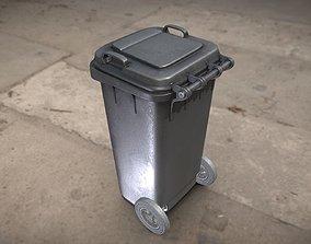 3D model Black Plastic Waste Bin 120 Liters 945x393x480
